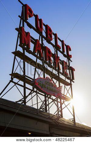 Seattle Public Market Center Sign, Pike Place Market, Seattle WA, USA