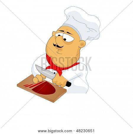 fat chef cutting meat