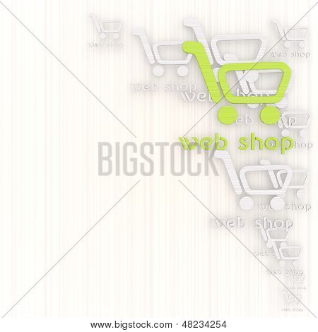 Illustration Of A Shopping Web Shop Background With Pictogram