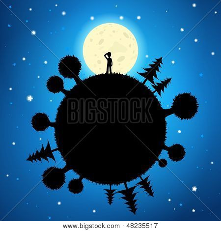 Moon And Planet In The Night Sky