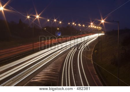 Car Light Rails On The M1 In England, Uk.