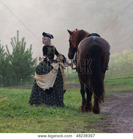 Woman In Dress Royal Baroque Riding