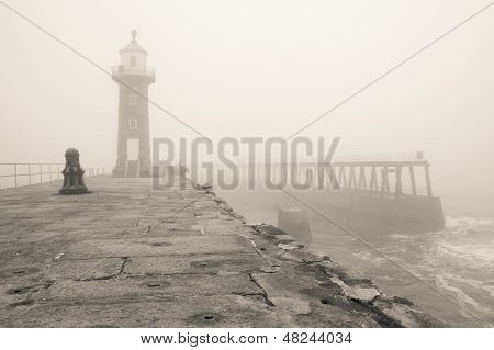 Whitby East pier and Lighthouse