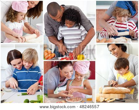 Collage of parents with their children preparing pastry poster