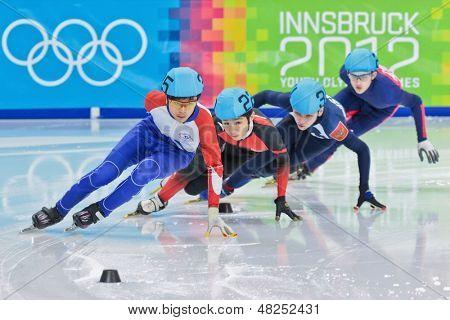 INNSBRUCK, AUSTRIA - JANUARY 18 Yin-Cheng Chang (Taiwan, #35) places third in the men's 1000m  short track C final on January 18, 2012 in Innsbruck, Austria.