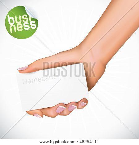 Hand Holding Name Card Illustration