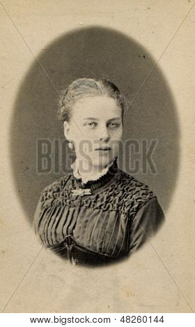 MOSCOW, RUSSIA, CIRCA 1905: Antique photo, portrait of a young woman, circa 1905
