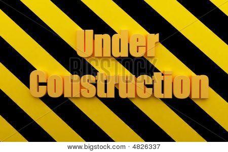 3D Render Beautiful Sign Under Construction