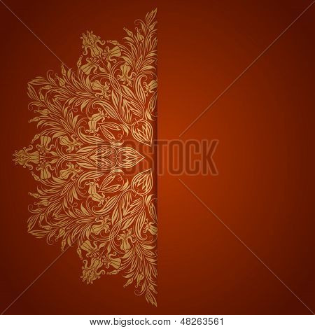 Elegant background with lace ornament and place for text. Floral elements, ornate background. Vector illustration. EPS 10. poster