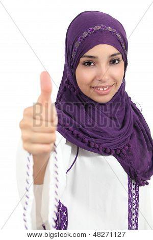 Arabian Woman Wearing A Hijab With Thumb Up