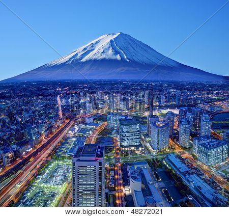 Skyline of Mt. Fuji and Yokohama, Japan. poster