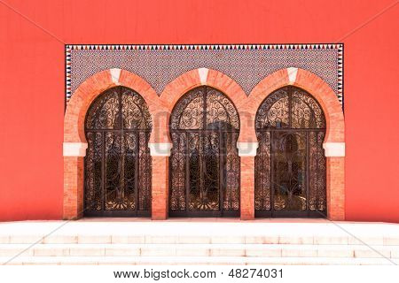 Glass doors at Bil Bil Castle, Benalmadena, Spain