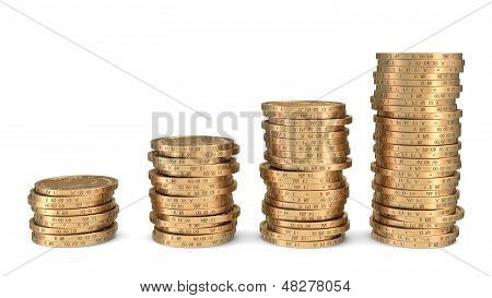Diagram Of Golden Dollar Coins Isolated On White