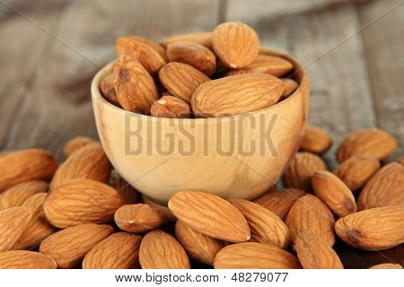 Almond in wooden bowl, on wooden background