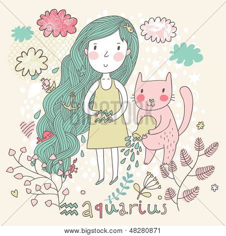 Cute zodiac sign - Aquarius. Vector illustration. Little girl with long beautiful hair with her pink cat  in the clouds and flowers. Doodle hand-drawn style.