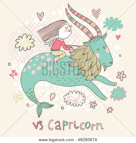 Cute zodiac sign - Capricorn. Vector illustration. Little girl riding on the big blue ibex in the sky with clouds. Doodle hand-drawn style