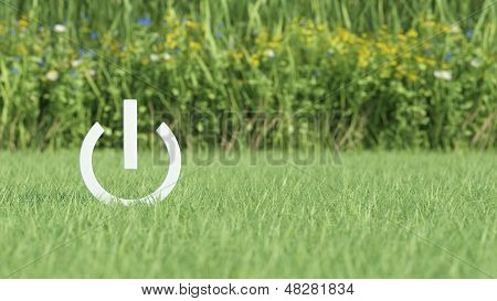 Power Icon On Grass Field