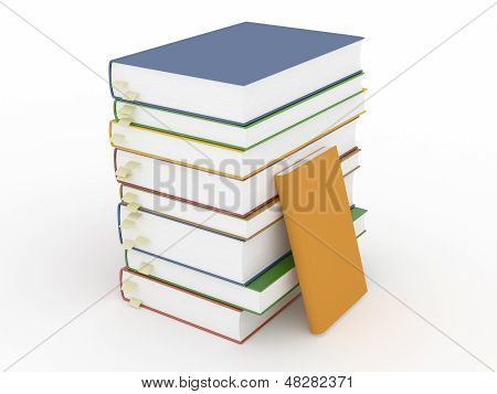 Stacks Of Books With Bookmarks And Empty Covers