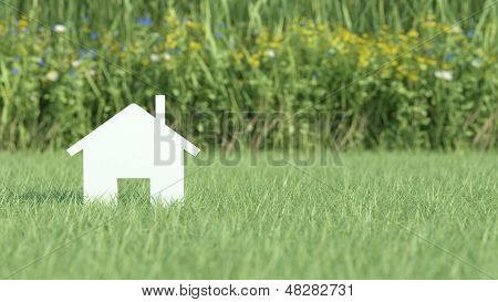 Symbol Of House On Grass Field