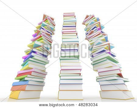 Three Stack Of Books On White