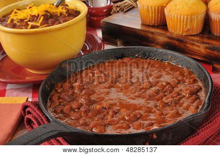 Chili Con Carne In A Cast Iron Skillet