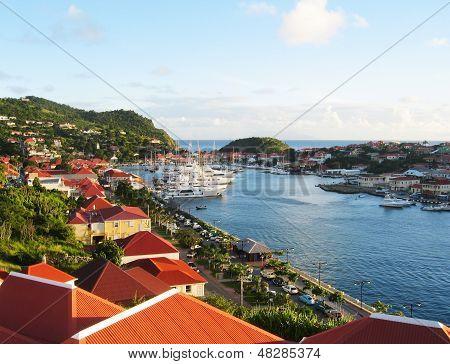 Aerial view at Gustavia Harbor with mega yachts at St Barts