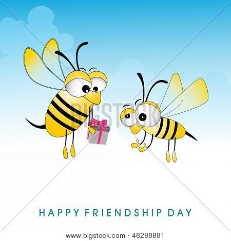 Happy friendship day concept with cute honey bee's giving gifts on abstract blue background. poster