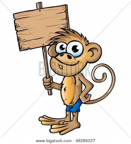 monkey cartoon project with wood signboard vector poster
