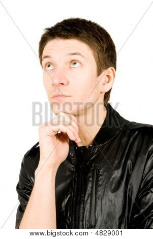 Portrait Of Young Man Thinking, Isolated On White Background.