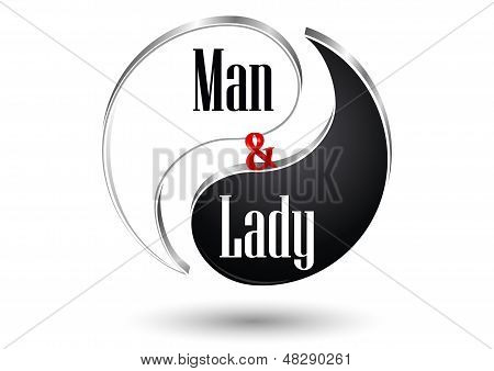 Yin Yang, Male and Female symbol. Vector illustration poster