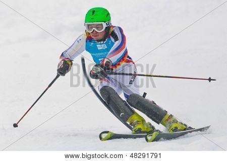 PATSCHERKOFEL, AUSTRIA - JANUARY 21 Artem Pak (Russia) places 20th in the men's slalom on January 21, 2012 in Patscherkofel, Austria.