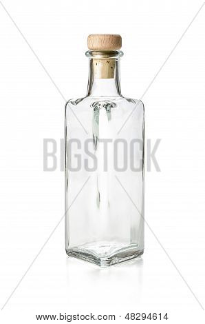 empy liquor bottle on a white background