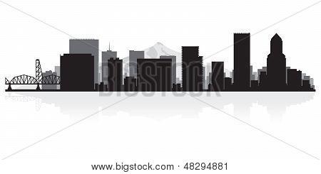 Portland City Skyline Silhouette