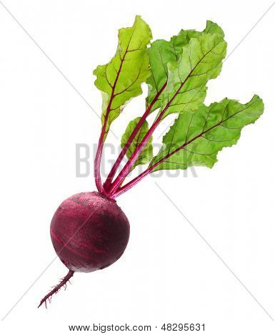 Beet, beetroot with leaves isolated on white