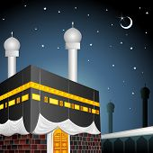 vector illustration of Eid Mubarak (Blessing fo Eid) with Kaaba poster