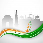 Indian Independence Day or Republic Day background with view of India Gate, Kutubminar and Red Fort. poster