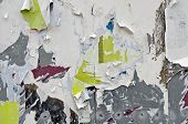 Old torn posters on grungy zinc wall poster