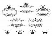 Retro frames set with royal crowns for heraldry design poster