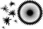 Vector illustration of abstract black flowers or blots poster
