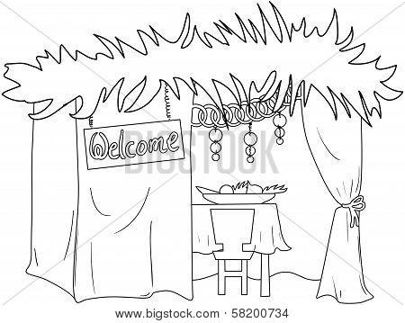 Sukkah For Sukkot Coloring Page
