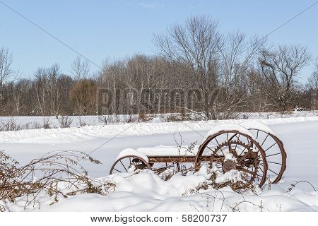 Old Farm Wagon in the Snow