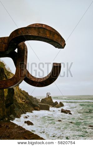 Peine del Viento sculpture in San Sebastian Spain poster