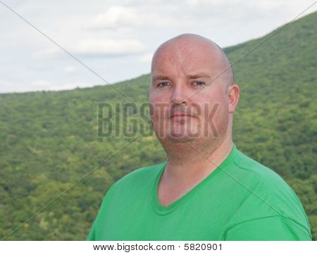 Overweight Male Sweating After Mountain Hike