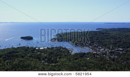 A beautiful view of the harbor and ocean in Camden, Maine from Mount Battie in Camden Hills State Park. poster