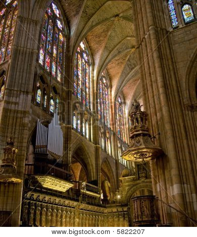 Choir In Santa Maria De Leon Cathedral. Leon, Spain