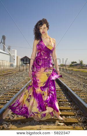 African American Fashion Model on Railroad Tracks