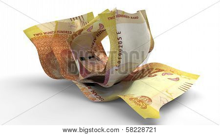 Scrunched Up South African Rand Notes