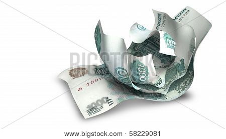 Scrunched Up Russian Ruble Notes