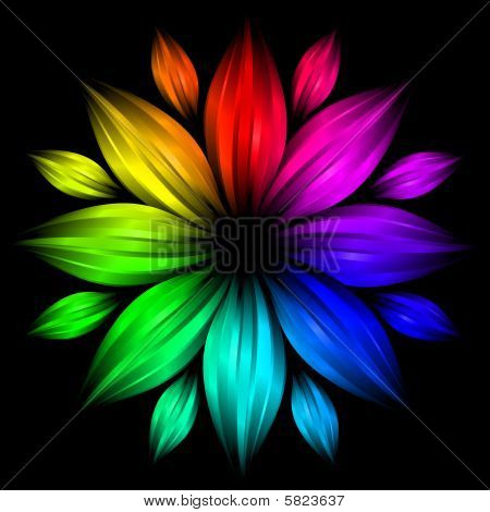 Abstract Flower In Rainbow Color On Black Background