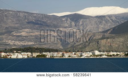 Itea Town And Parnassos Mountain, Greece
